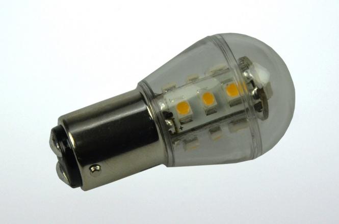BA15d LED-Miniglobe 140 Lumen Gleichstrom 10-30V DC warmweiss 1,6W