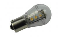 BA15S LED-Miniglobe 140 Lumen Gleichstrom 10-30V DC warmweiss 1,6W
