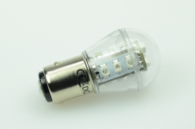 BA15S LED-Miniglobe 27 Lumen Gleichstrom 10-30V DC Rot 0,7W