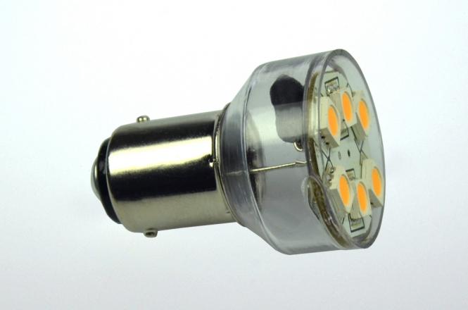 BA15D LED-Bajonettsockellampe 100 Lumen Gleichstrom 10-30V DC warmweiss 1W